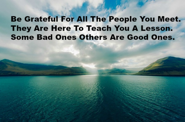 Be Grateful For All The People You Meet. They Are Here To Teach You A Lesson. Some Bad Ones Others Are Good Ones.