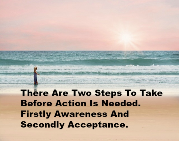 There Are Two Steps To Take Before Action Is Needed. Firstly Awareness And Secondly Acceptance.